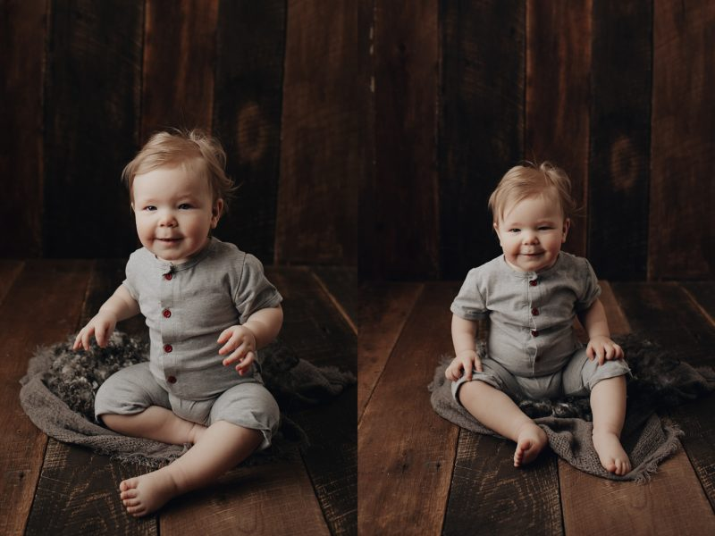 Sweet baby photos of a little boy sitting on barn wood with a layer piece under him