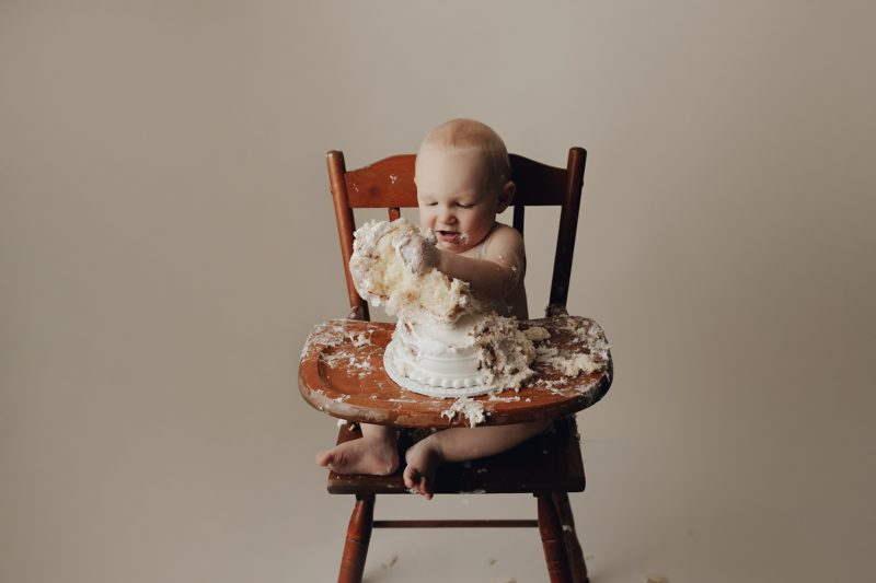 baby photos with a cake