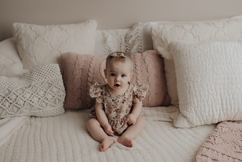 sweet baby girl getting her 6 months photos taken